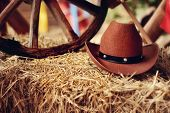 picture of bareback  - on a haystack the brown cowboy - JPG
