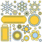 Yellow And Blue Graphics Collection With Tags, Labels,flowers,hearts