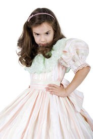 stock photo of toddlers tiaras  - Angre Little Princess in Pink Dress - JPG
