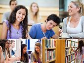 Collage of pictures showing students in classroom