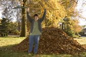 Raking Leaves Triumphant Boy