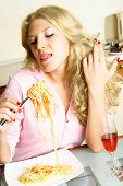 Pretty Girl Eating Spaghetti poster