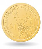One Dollar Coin Vector Illustration