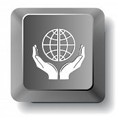 Protection world. Vector computer key.
