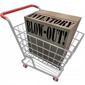 Inventory Blow-Out words on a cardboard box in a shopping cart to illustrate special discount sale o