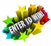 The words Enter to Win in a starburst of colorful fireworks to illustrate entering or winning a cont
