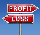 profit or loss win or loose financial on stock market economy earning or loosing money trough the ri