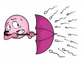 stock photo of sperm cell  - Egg cell holding an umbrella against a rain of sperm - JPG