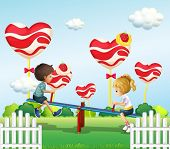 pic of seesaw  - Illustration of the children playing with the seesaw in the playground - JPG