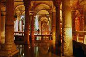 picture of cistern  - Columns in Yerebatan cistern in Istanbul Turkey - JPG