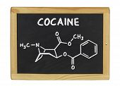 chemical formula of cocaine on a blackboard