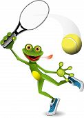 stock photo of amphibious  - illustration a merry green frog tennis player - JPG