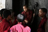 Unidentified monks debate in the Tashilunpo monastery area