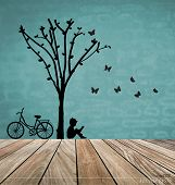 stock photo of cutting trees  - Vector Decorative Wall Stickers For Your House - JPG