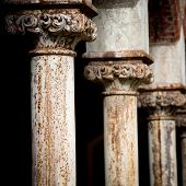 Pillars at old convent - focus on first pillar