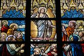 picture of pentecostal  - Leaded Glass Window In Church Of Alsemberg  - JPG