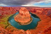 picture of horseshoe  - Famous Horseshoe Bend of the Colorado River in northern Arizona - JPG