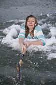 Girl In Ice Hold Swinging Axe