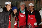 Booboo Stewart, Fivel Stewart, Harrison Ford, Antonio Villaraigosa at the Los Angeles Mission Christ