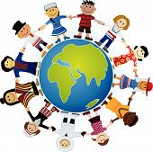 image of world-globe  - Kids Of The World Illustration - JPG