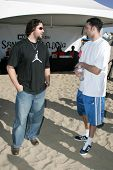 SANTA MONICA, CA - DECEMBER 02: Eric Gagne and Jordan Farmar at Kohl's Holiday Sandman Building Comp