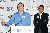 Barack Obama and Ben Affleck at a press conference supporting Prop 87, USC, Los Angeles, California,