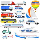 image of fire brigade  - vector illustration of set of means of transport - JPG