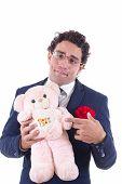 Clumsy Man Holding A Teddy Menu