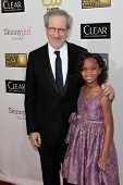Steven Spielberg and Quvenzhane Wallis at the 18th Annual Critics' Choice Movie Awards Arrivals, Barker Hangar, Santa Monica, CA 01-10-13
