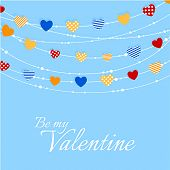 Valentine background with joyful heart bunting