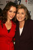 Senator Barbara Boxer and Alyssa Milano at a Rally Supporting Proposition 87. United Teachers Los An
