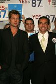 LOS ANGELES - NOVEMBER 11:  Brad Pitt and Mayor Antonio Villaraigosa at Proposition 87 Press Confere