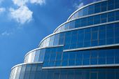 Saratov Business Building over blue cloudy sky