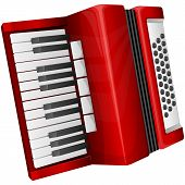 stock photo of accordion  - Vector illustration red accordion isolated on white - JPG