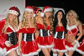 Mary Riley and Bench Warmer models at the Bench Warmer Trading Card's Holiday Party and Toy Drive. A
