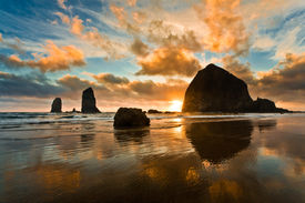 image of haystacks  - Haystack Rock at sunset Cannon Beach Oregon - JPG