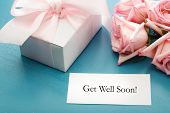 picture of get well soon  - Get Well Soon card with gift box and pink roses - JPG