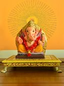 foto of indian elephant  - A clay statue of an Indian god Lord Ganesha - JPG