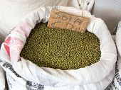 Green mung beans in canvas sack