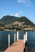 Mt. Bre seen from a boat dock in Lugano. The town of Castagnola sits at the base of the Mountain.