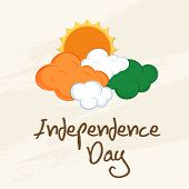 pic of indian independence day  - Indian Independence Day celebrations concept with clouds in national flag colors on abstract beige background - JPG