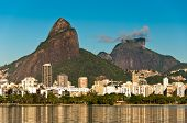 stock photo of ipanema  - Beautiful view of Rio de Janeiro with the Lake and Mountains, Leblon and Ipanema District.