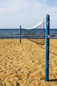 An Empty Beach Volleyball Court Vertical
