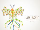Beautiful butterfly in national flag colors on grey background for 15th of August, Indian Independen