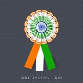 Badge in Indian National Flag colors on grey background for Indian Independence Day celebrations.