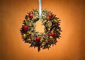 Advent Wreath Over Beige Background