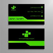 Business visit card template - green and black
