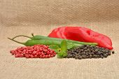 Red Hot Chili Pepper On The Jute Gunny Bag