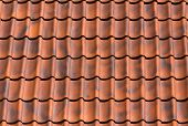 stock photo of red roof tile  - Red tiles roof background texture of a house - JPG