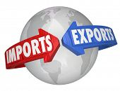 stock photo of international trade  - Imports and Exports words arrows Earth international business - JPG
